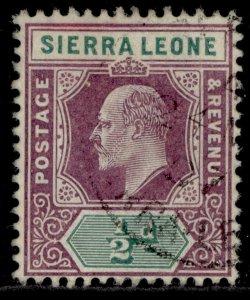 SIERRA LEONE EDVII SG86, ½d dull purple & green, FINE USED.