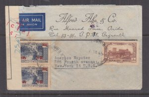 LEBANON, 1945 Airmail Free French Censored cover, Beyrouth to USA.