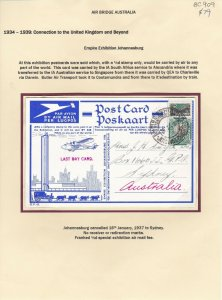 BC909) South Africa 1936-37 Jipex special Airmail post card to Sydney with ½d Sp
