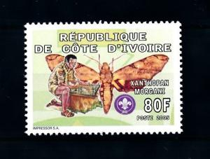 [92038] Ivory Coast 2005 Insects Butterflies Scouting From Set MNH