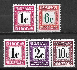 COLLECTION LOT OF # 808 SOUTH AFRICA 5 POSTAGE DUE STAMPS MH 1961+