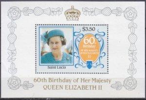 1986 St Lucia 838/B47 60 years of Queen Elizabeth II 6,50 €