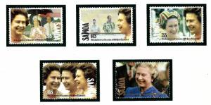 Samoa 805-09 MNH 1992 QEII 40th Anniv of Reign