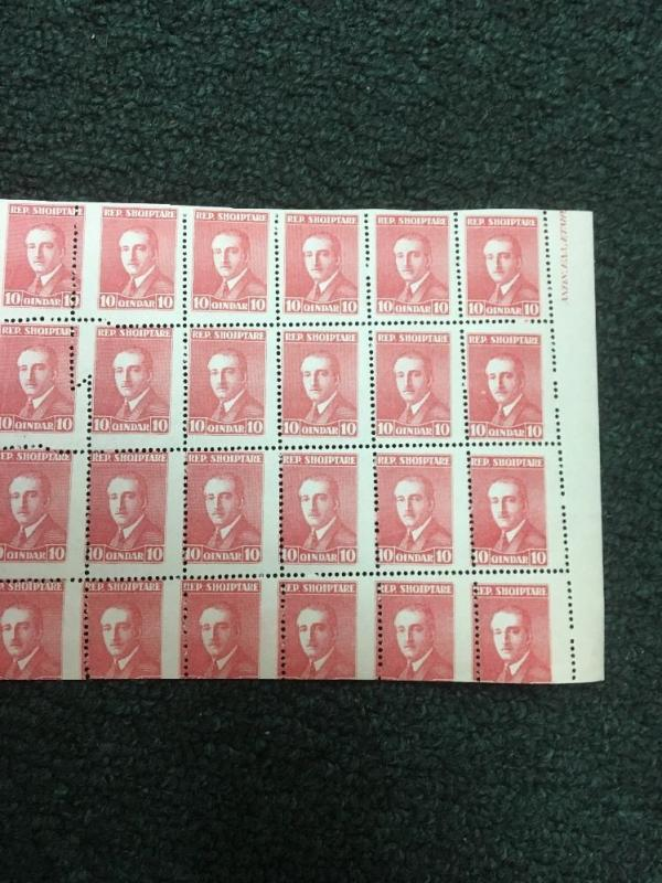 Albania miscut sheet of 40. MNH. Some creasing due to the error.