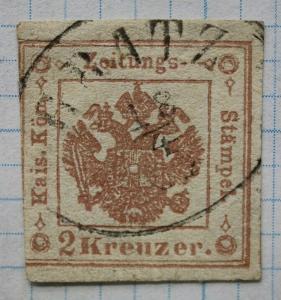 Austria sc#PR3a red brown newspaper stamp used SOTN cancel GRATZ cv$240.00