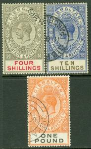 EDW1949SELL : GIBRALTAR 1924-25 Sc #88, 91-92 SG #100, 106-07 VF, Used Cat £410