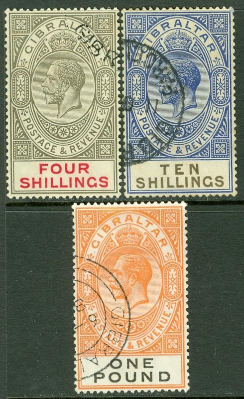 EDW1949SELL : GIBRALTAR 1924-25 Sc #88, 91-92 SG #100, 106-07 VF, Used Cat £410.
