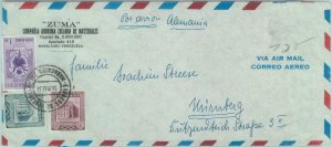 84325 -  VENEZUELA - POSTAL HISTORY - AIRMAIL COVER to GERMANY 1954 - ORCHIDS