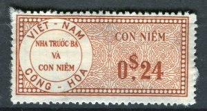 VIETNAM; Early CONG-HOA revenue issue Mint unused 24c. value ( paper adhesion)