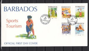 Barbados, Scott cat. 856-860, Sports as Golf & Cricket issue. First day cover. ^