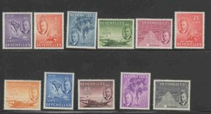 SEYCHELLES #157-167 1952 KING GEORGE VI & MAP MINT VF NH O.G