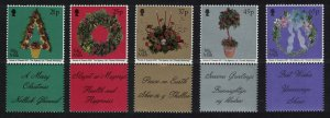 Isle of Man Christmas Decorations 5v with labels SG#965-969