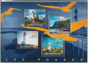 863 - CENTRAL AFRICAN R. - ERROR - MISSPERF stamp sheet 2014  Lighthouse