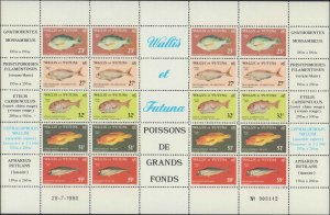 1980 Wallis Island #260a, 4 Strips of 5, Full Sheet, Never Hinged