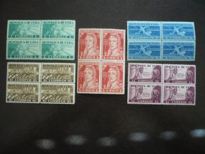 Stamps - Cuba - Scott# 375-379 - Mint Hinged Set of 5 Stamps in Blocks of 4