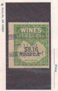 US 1951-54 $8.16 Wines Revenue Stamp Scott # RE 203 Used Hammondsport NY