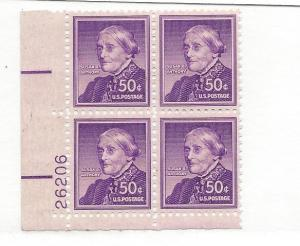 United States, 1051, Susan B. Anthony Lower Left Plt.Blk (4) #26206, MNH