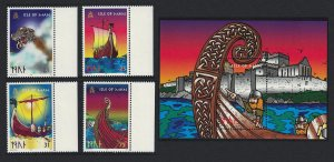 Isle of Man Viking Longships 4v+MS SG#793-MS797