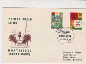 Uruguay 1975 Lufthansa LH507 Slogan Cancel Flight Airmail Stamps Cover Ref 29406