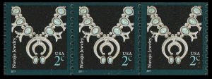 US 3758B American Design Navajo Jewelry 2c coil strip (3 stamps) MNH 2011
