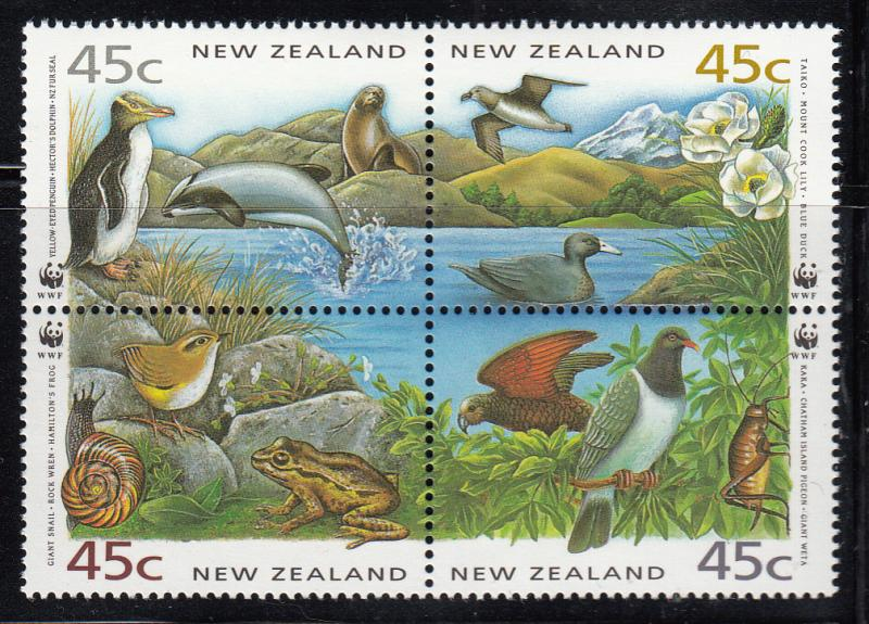 New Zealand 1993 MNH Scott #1163a NZ Unique species WWF