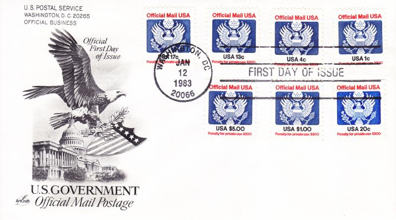 1983 Official Mail Postage FDC with High Dollar values