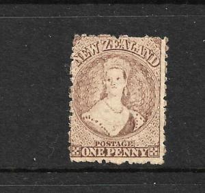 NEW ZEALAND 1871-72  1d  BROWN  FFQ  MLH  P12 1/2  CP A1Q3   SG 132 CHALON