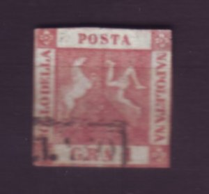 J22623 Jlstamps 1858  italian states two sicilies naples used #2 coat arms