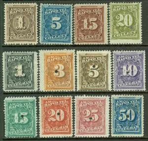 EDW1949SELL : USA 1881 Telegraph stamps Scott #1T1-1T12 F-VF, Used. Catalog $80.