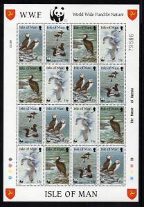 Isle of Man Sc 399-2 1989 WWF Birds stamp sheet mint NH