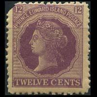 PRINCE EDWARD IS. 1872 - Scott# 16 Queen 12c Used corner cut