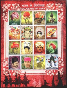 India. 2017. 3097-3112. Indian hats. MNH.