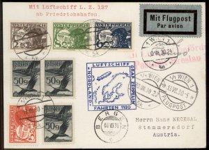 Austria 1930 Graf Zeppelin Si73 Nordland Bergen Norway Drop 117 Flown Cove 99554
