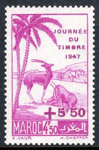 French Morocco B32, MNH. Scimitar-horned Oryxes. Surcharged, 1947