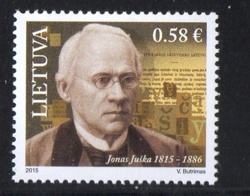 Lithuania Sc 1052 2015 Juska, Linquist, stamp mint NH