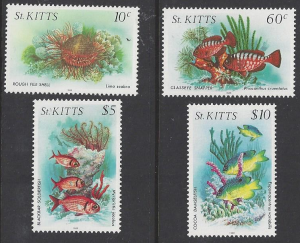 St. Kitts #140b, 147a, 151a & 152a  mint singles, marine life  issued 1988