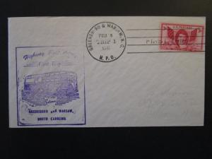 US 1949 Greensboro to Warsaw First HPO Cover / Trip 1 / Light Address - Z4413
