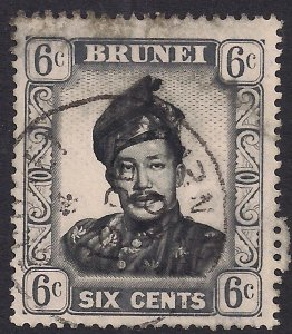 Brunei 1952 - 58 QE2 6ct Sultan Omar used SG 104 ( R1013 )