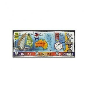 Kiribati 484 ac strip,MNH.Michel 484-486. Americas Cup 1986.Map,Yacht.