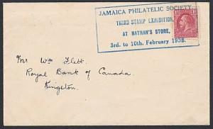 JAMAICA 1938 cover large STAMP EXHIBITION commem cancel in blue............55024