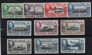 Falkland Islands KGVI 1938 short mint LHM set to 1/- WS22188