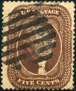 1859 United States Postage Stamp #29 Used F/VF Grid Cancel