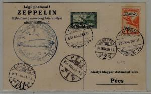 Hungary Zeppelin card 30.3.31 Pecs