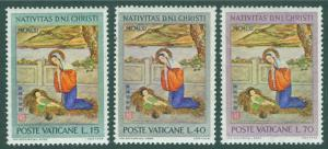 VATICAN Scott 323-5 MNH** 1961 Christmas Nativity set CV$.70