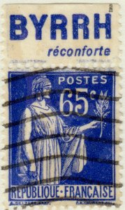 FRANCE - 1937 Pub BYRRH (réconforte) supérieure sur Yv.365b 65c Paix Obl. TB