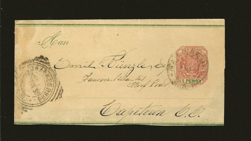 South Africa Postmarked Johannesburg 1899 Newspaper Wrapper Front Only