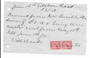 London, England 1931 Rent Receipt, Vertical Pair Scott 188 Revenue Usage