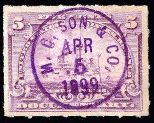 USA STAMP REVENUE BOB  #R167 5C 1898 M. C. SON & CO. CANCEL STAMP
