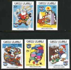 CAICOS Islands Scott 54-58 MNH** 1984 Donald Duck Christmas