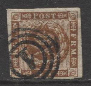 Denmark - Scott 7b - Royal Emblems Issue -1862 - Used - Single 4rs Stamp